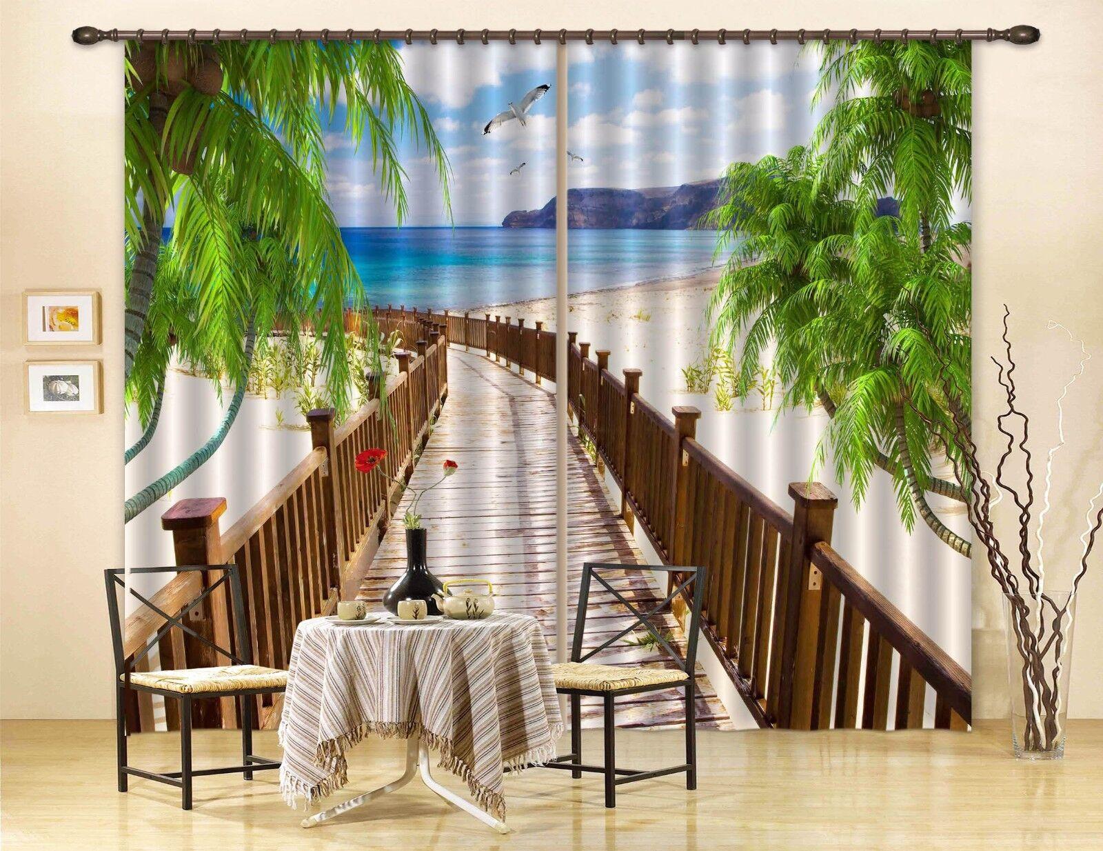 Vista de playa 3D 3 Cortinas de impresión de cortina de foto Blockout Tela Cortinas Ventana au