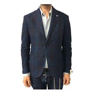 L.B.M 1911 giacca uomo sfoderata blu quadri bordeaux 75% lino 25% cotone mod 2857