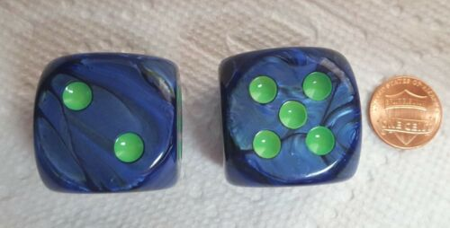 Dice 30mm *2* Chessex Lustrous Dark Blue w//Green Pips Such Fun Colors!