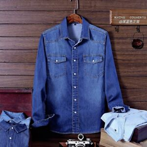 Fashion-Men-s-Denim-Jeans-Shirt-Autumn-Long-Sleeve-Denim-Cotton-Shirt-Outwear