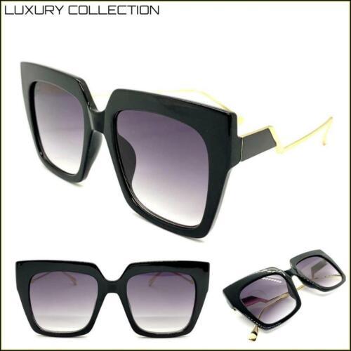 Klassisch Elegant Vintage Luxus Retro Stil Sonnenbrille Quadrat Schwarz /& Gold
