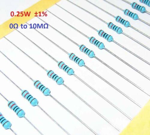 500PCS 1//4W 0.25 W Métal Film Résistance ± 1/% 0Ω à 10MΩ Gamme Complète de valeurs