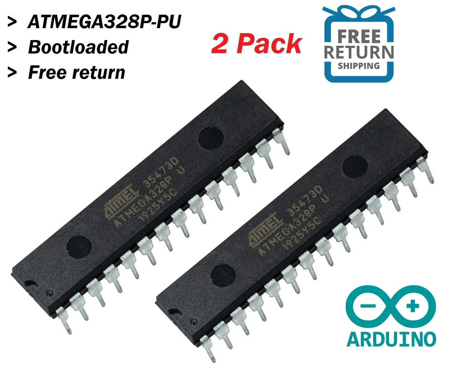 Pack 2 Gratux Atmega328P-PU with Bootloader Bundle with Sockets