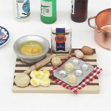 1:12 Dollhouse Miniature Kitchen Food Eggs Milk Bread on Board Dollhouse De cl