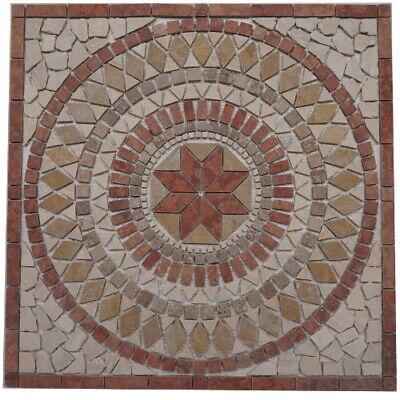 Naturstein Mosaik Rosone in Rot und Beige Marmor im Format von 60 x 60 cm Fliesen