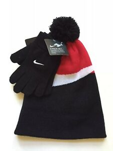 Nike Boys 2 Piece Winter Set Pom Pom Hat Gloves Black Red 8-20 ... 7da75110ca1