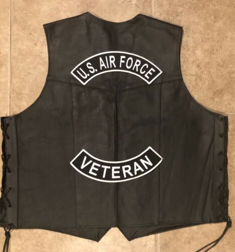 White On Black US Air Force Veteran Rocker Patch Set Made In The USA