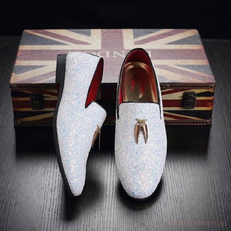 Mens Slip On Loafers Glitter Sequins Tassels Nightclub Dress shoes Flats Driving