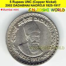 2002 DADABHAI NAOROJI 1825-1917 Copper-Nickel 5 Rupees BEST UNC # 1 Coin