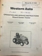 Western Auto Operators Amp Service Manual Wizard Garden Tractor 61 1049