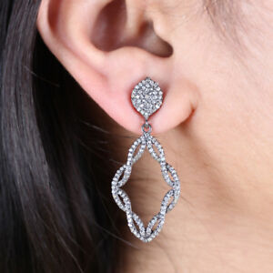 Natural-1-38-Ct-Pave-Diamond-Dangle-Drop-Earrings-Sterling-Silver-Fine-Jewelry