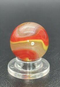 """Akro Agate Corkscrew Marble Vintage Akro Red & Yellow Corkscrew Marble 0.669"""" NM"""