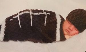 7f8b200c0 Details about Rising Star Baby Crochet Football Cocoon And Cap Costume 2  Piece Sz 0/3 Months