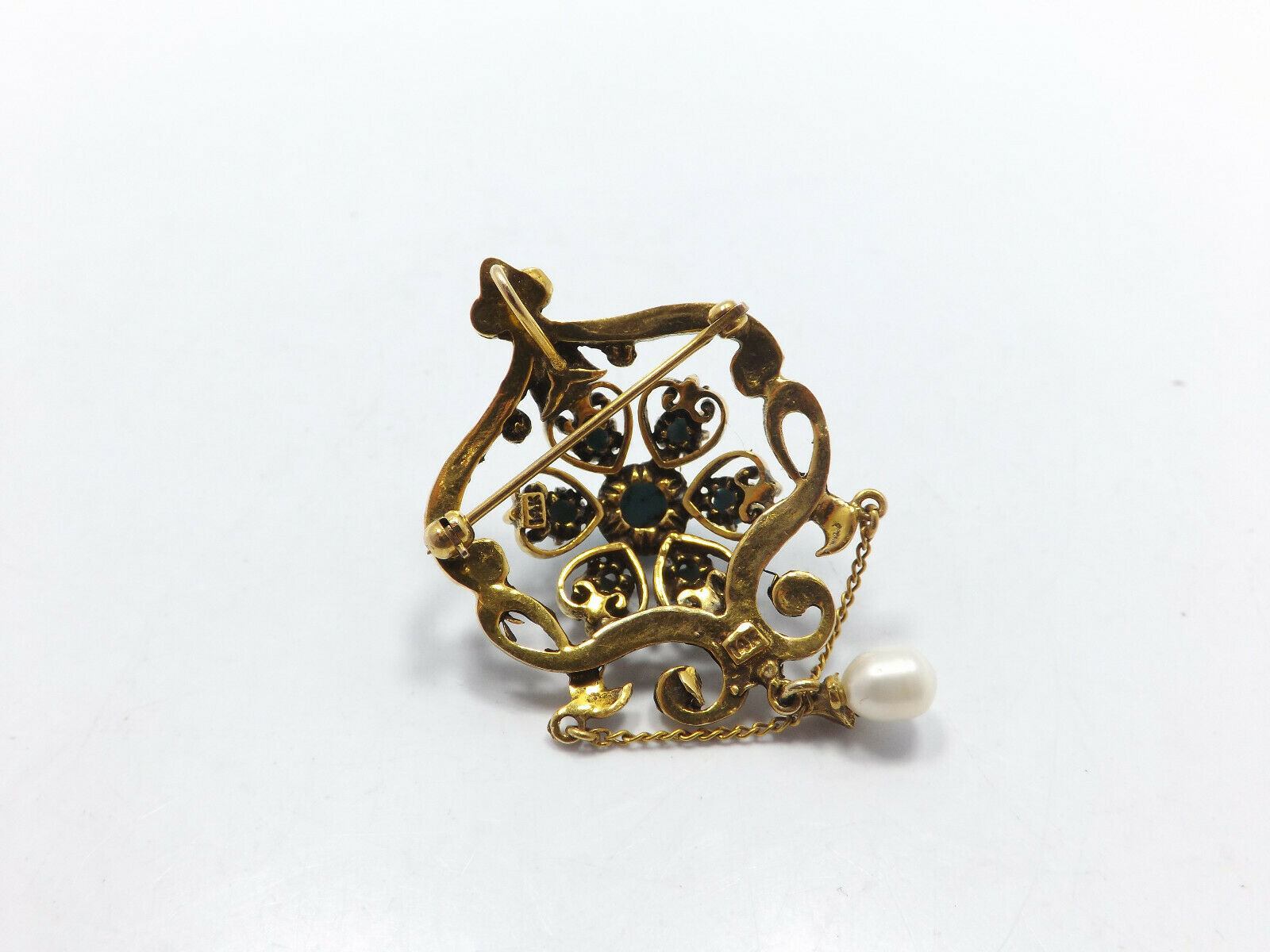 Vintage 14k Gold Persian Turquoise Seed Pearl Orn… - image 5