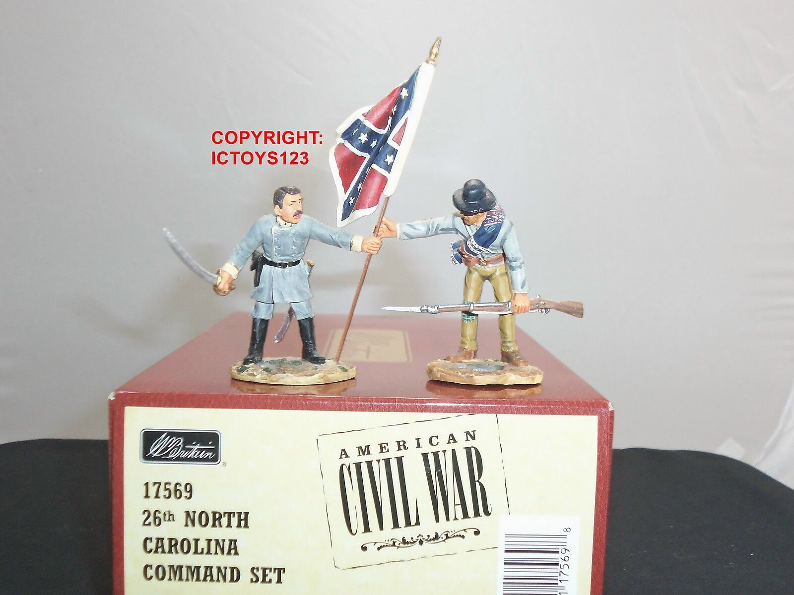BRITAINS 17569 AMERICAN 26TH NORTH CAROLINA METAL TOY SOLDIER FIGURE COMMAND SET