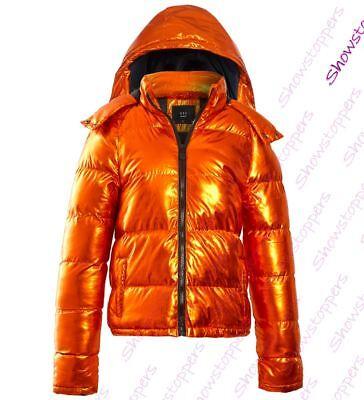Damen Gefütterte Mantel Metallic Bubble Parka Jacke orange Gr. 8 10 12 14 16 | eBay