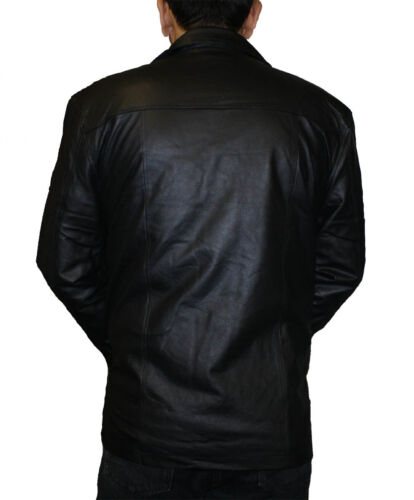 Men/'s Black Casual Leather Jacket 4 Buttons 2 front pockets1 insidepocket #PN332