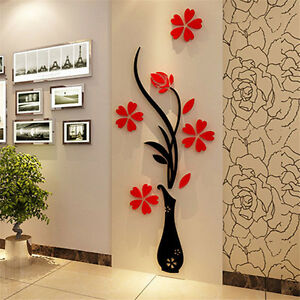 Beautiful D Flower Vase DIY Mirror Wall Decal Sticker Art Home - Wall decals mirror