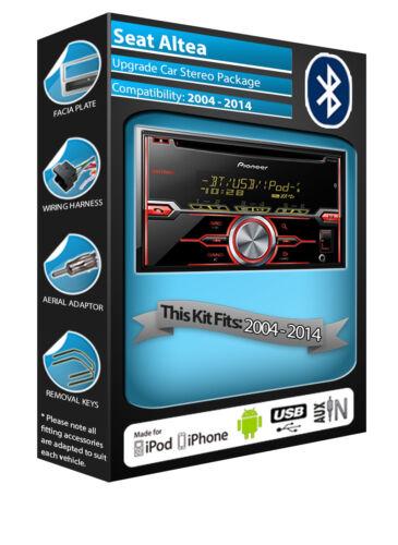 Bluetooth Manos Libres Kit en SEAT Altea reproductor de CD pionero coche RADIO AUX USB