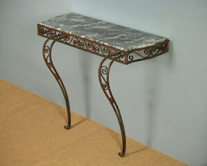 Details About Marble Painted Wrought Iron Console Or Hall Table C 1950