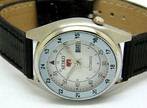 SEIKO5-AUTOMATIC-MEN-S-STEEL-PLATED-VINTAGE-WHITE-DIAL-MADE-JAPAN-WATCH-RUN