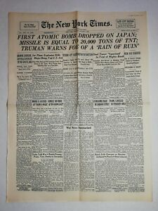 N1229-La-Une-Du-Journal-The-New-York-times-7-August-1945-first-atomic-bomb