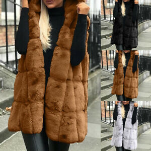 Lady-039-s-Faux-Fur-Vests-Coats-Sleeveless-Waistcoat-Hooded-Long-Jacket-Coat-Outwear