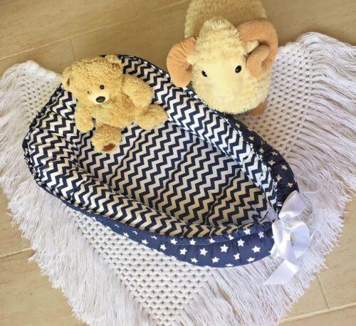 Double Sided Babynest Navy Baby Nest Co Sleeping Pod Newborn Snuggle Bed lounger