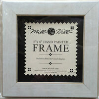 Small Antique White Wood Folk Art Frame By Mill Hill 6 X 6 Opening