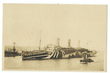 RPPC - USS LEVIATHAN In Razzle Dazzle Camouflage WWI TROOP SHIP ca1918
