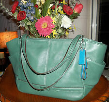 COACH PARK CARRIE PEBBLE LEATHER BRIGHT JADE-GREEN TOTE HANDBAG PURSE