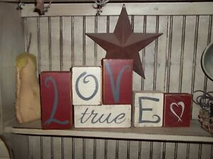 Valentine S Day True Love Signs Rustic Wood Shelf Sitter Block Signs