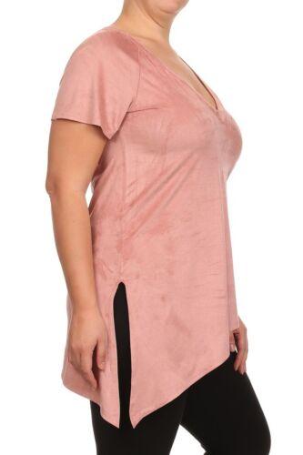 Plus Size Pink Blush Velvet Suede Side Slit Short Soft Sleeve Top Blouse Shirt
