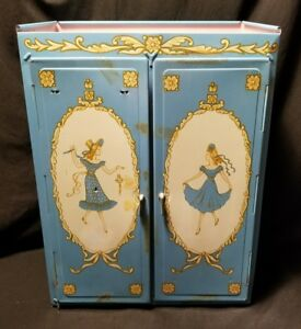 Vintage-50-039-s-Ideal-Toy-Tin-Litho-Metal-Doll-Trunk-Dollhouse-I-B-M-4208-Wardrobe