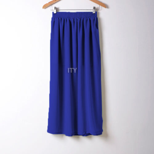 Women Maxi Skirt Double Layer Chiffon Pleated Retro Long Dress Elastic Waist New