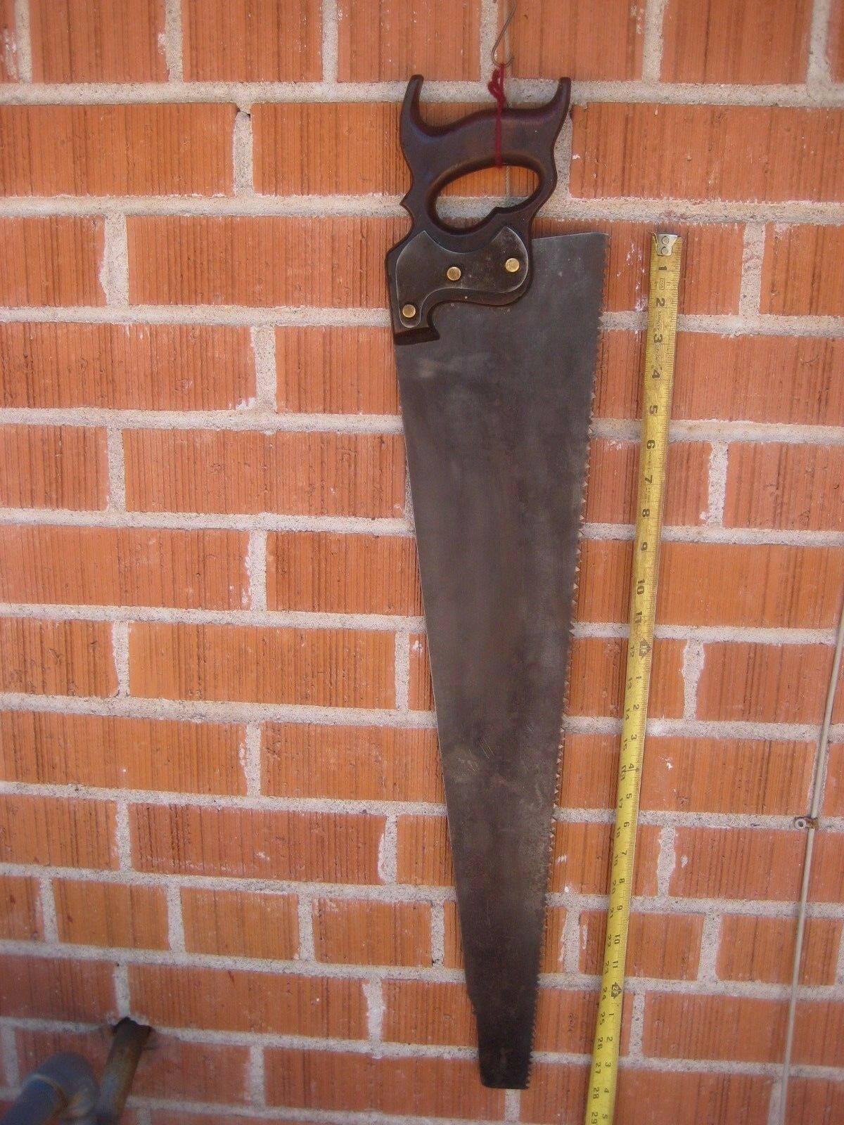 Antique 28  Blade x 4 Point  UNMARKED  Wood Hand Saw with Rusted Patina