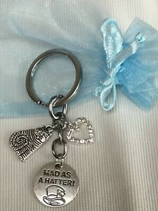 ALICE-IN-WONDERLAND-MAD-AS-A-HATTER-THEME-KEYRING-WITH-ORGANZA-GIFT-BAG