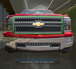 Fedar-Fits-14-15-Chevy-Silverado-1500-Black-Upper-Rivet-Formed-Mesh-Grille