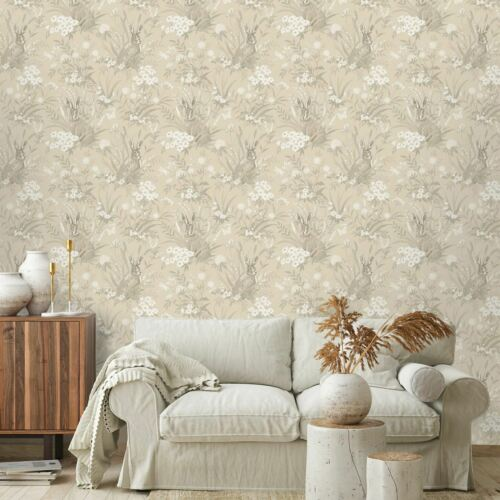 COUNTRY WILDFLOWER WOODLAND AAYLA HARES WALLPAPER IN TAUPE BY HOLDEN 90883
