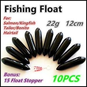 10X-Premium-Fishing-Hard-Foam-Float-Floats-12cm-x-3cm-Rock-Kingfish-Salmon-BK