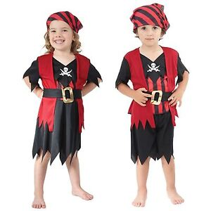 Image is loading Age-2-3-Girls-Boys-Toddler-Pirate-Costume-  sc 1 st  eBay & Age 2-3 Girls Boys Toddler Pirate Costume Childrens Kids Book Week ...