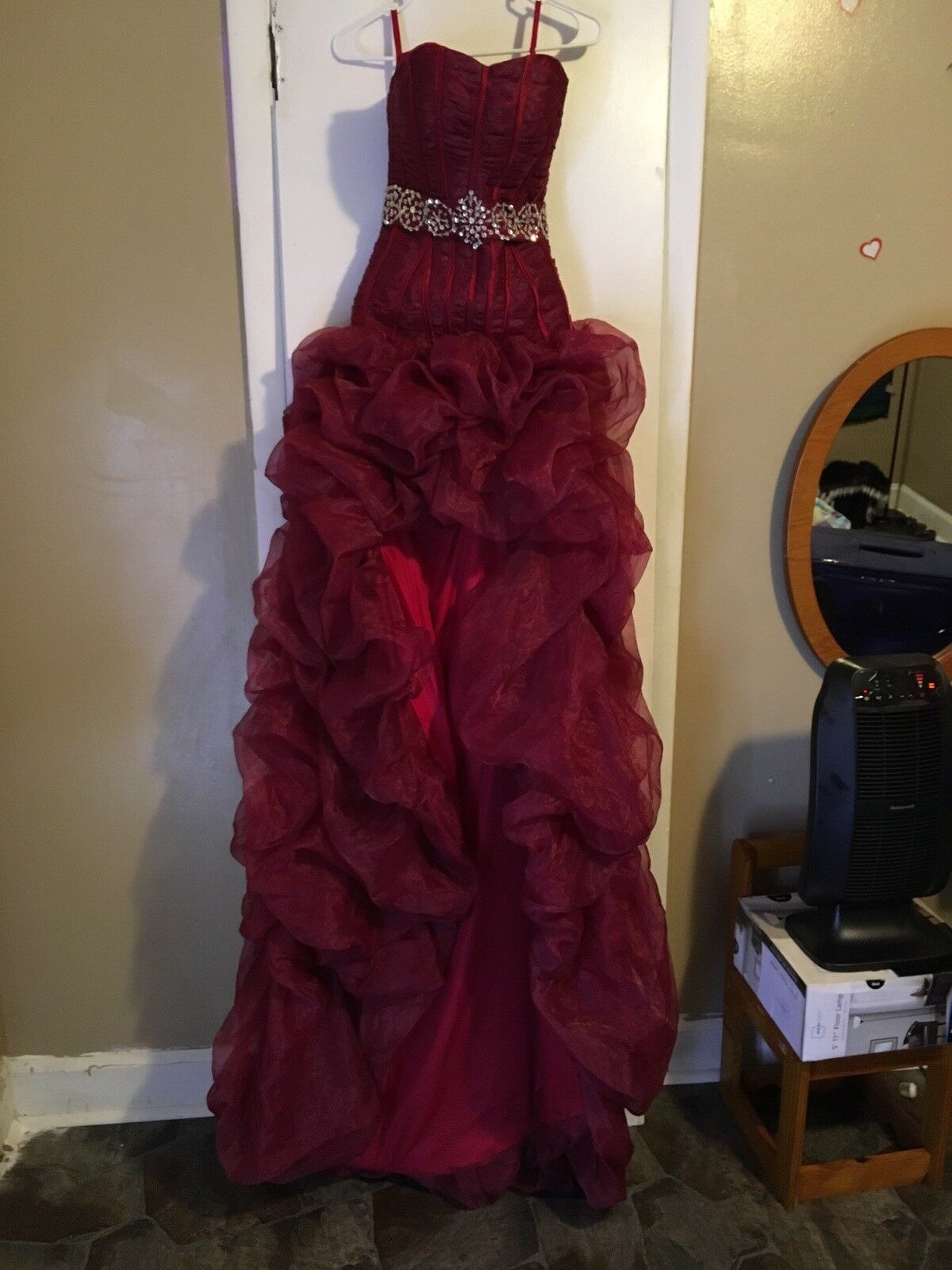 Long Strapless Burgundy Prom Prom Prom Dress 676056