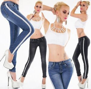 Vaqueros-pitillo-jeans-pantalones-senora-elastico-galon-brillo-rayas-Denim-XS-S-M-L-XL