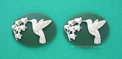 2 IVORY color HUMMINGBIRD & LILY of the VALLEY on GREEN 40mm x 30mm Craft CAMEOS