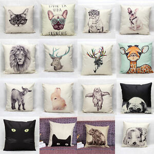 New Animal Pattern Home Decor Cotton Linen Pillow Case Waist Throw Cushion Cover eBay