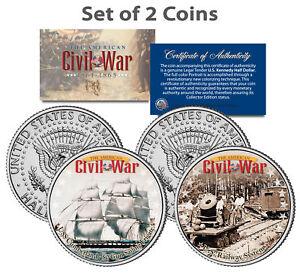 Civil-War-USS-CUMBERLAND-SHIP-amp-UNION-U-S-RAILWAY-JFK-Half-Dollar-US-2-Coin-Set