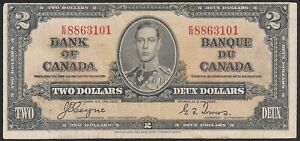 1937-Canada-Bank-Note-2-KGVI-P59c-Coyne-Towers-VF-TMM