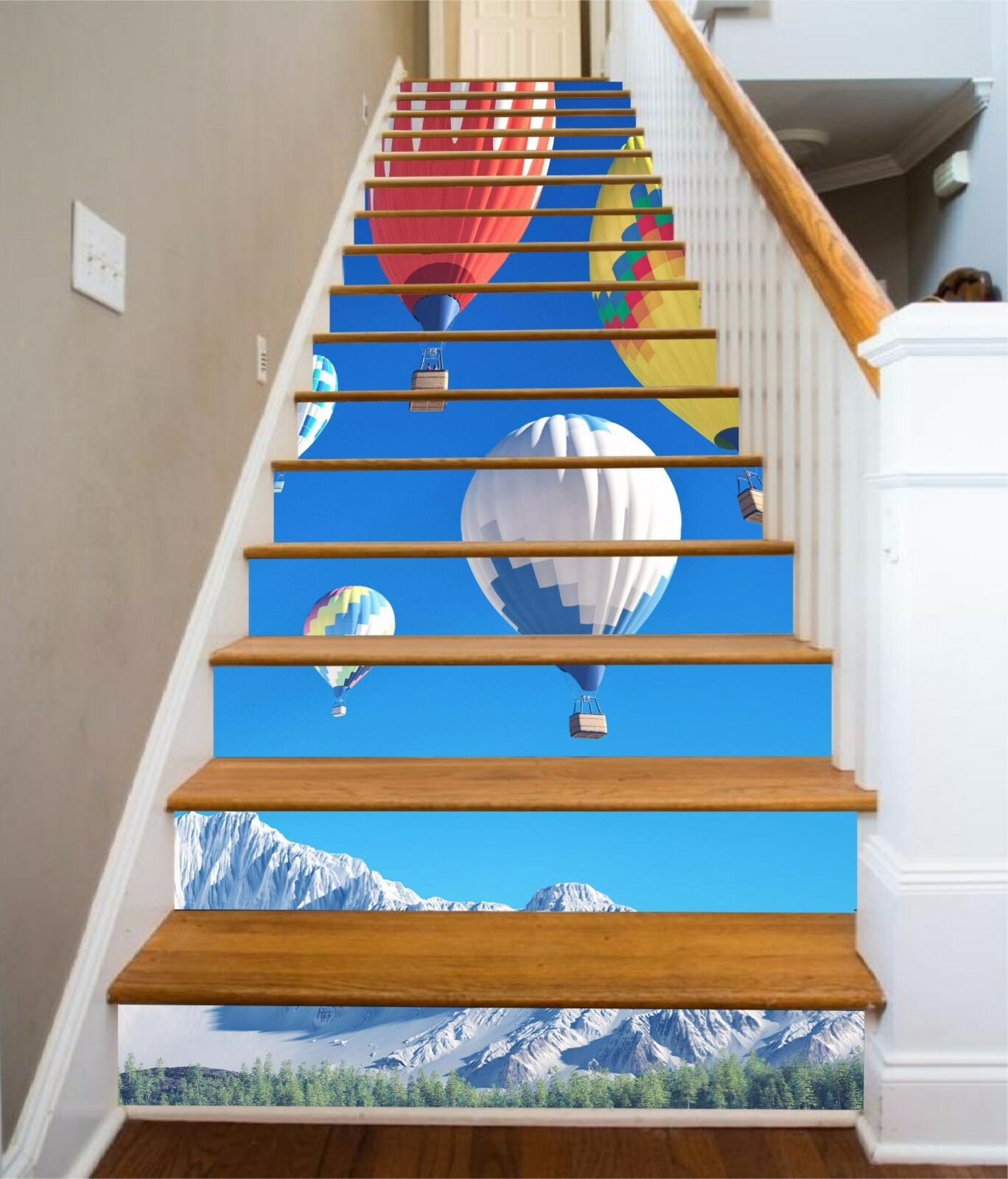 3D Mountain Balloon 437 Risers Decoration Photo Mural Vinyl Decal Wallpaper CA