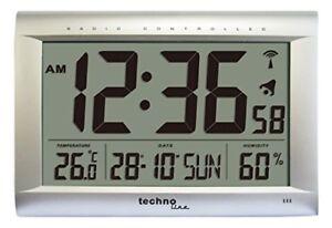 Technoline-WS-8009-Radio-Controlled-Clock-Silver-DCF-77-European-atomic-signal