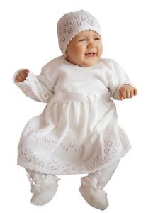 Details Zu Babykleid Taufkleid Strickkleid Festkleid Mädchen Baby Taufe Kleid Gestrickt Set